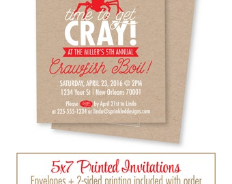 Crawfish Boil Invitation - Time to get Cray Cray - New Orleans Seafood Boil - Rustic Kraft Paper - Louisiana Crawfish Boil Party Invites