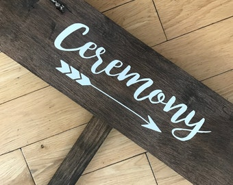 """Wedding Directional Signs """"Ceremony"""""""