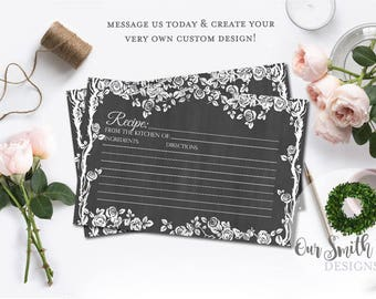 Chalkboard Recipe Card, Rustic Recipe Card, Bridal Shower Recipe Card, Wedding Shower Recipe