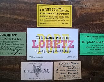 Admission tickets dating from late 1800s to early 1900s