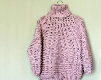 Turtleneck Sweater / Chunky Turtleneck Sweater / Very Thick Knit Sweater / Pink / Chunky Knit Sweater / Volume Sweater / Oversized / Bulky