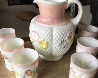 Consolidated Cosmos aka Stemless Daisy Pitcher and Tumbler Set- C. 1890's