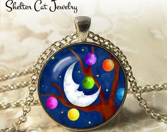 "Moon and Planet at Night Abstract Necklace - 1-1/4"" Circle Pendant or Key Ring - Handmade Wearable Photo Art Jewelry- Artistic Nature Gift"
