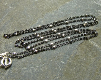 Oxidized and Polished Sterling Two Tone Chain - 30 Inches - Sterling Silver Chain - Sterling Silver Findings - tts30