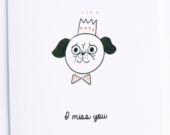 I Miss you Pugs valentine card // valentines day // love // adore // holiday // cupid // heart // miss // sad //