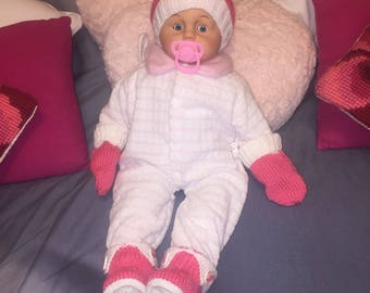Hat, glove and shoe pink and white with small bow set