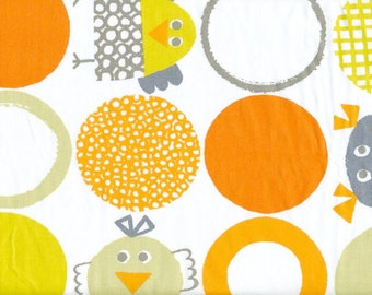 Fabric white orange mustard yellow grey beige rounds fun birds Cotton Fabric Kids Fabric Scandinavian Design Scandinavian Textile