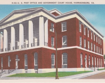 Harrisonburg, Virginia, Post Office, Government Court House - Vintage Postcard - Postcard - Unused (DDD)