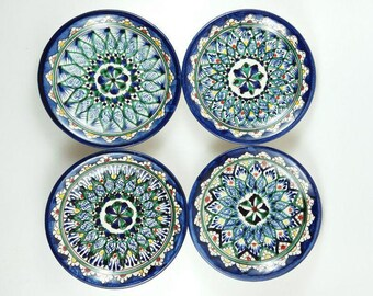 Uzbekistan pottery, plates sets blue, plates sets ceramic, plates set green, small plates set of 4, handmade plate,hand painted plate M