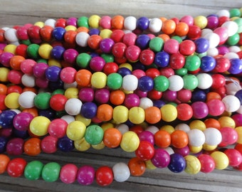 Multi Colored Magnesite Beads - 6mm Round Smooth - 16 inch Full Strand