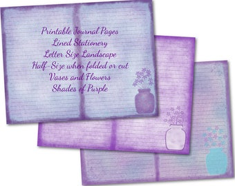 Printable Journal Pages, Printable Stationery, Lined Paper, Landscape View, Shades of Purple, Set of 3, Instant Download