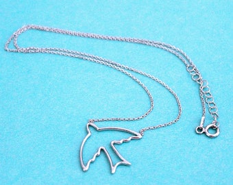 """Sterling Silver Open Bird Necklace, 16""""-17"""" - for women, for girls, necklace"""