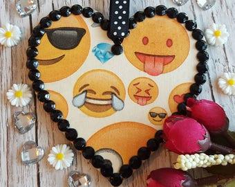 EMOJI Hanging Heart, Wooden, black rhinestones, country cottage chic, boho decor, nerd gift
