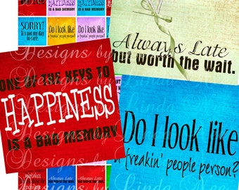 Instant Download - SASSY Quotes 2 (1 x 1) Inch Images Digital Collage Sheet humorous printable magnet button sticker