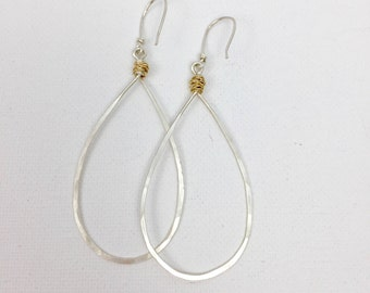 Mixed Metal Hoops Sterling Silver and Gold Pear Shaped Hoops #633