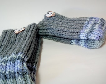 Gray Violet striped leg warmers