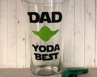 Star wars inspired fathers day gift, yoda best, christmas gift for dad, fathers day glass, yoda best dad glass, star wars holiday gift