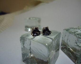 Heart Cut Tanzanite Blue Topaz Earrings in Sterling Silver   #1431