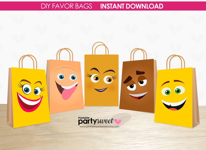 Emoji Clipart Printable Collection Coloring Pages Birthday Party Favor Pdf File Movie 5 Bags