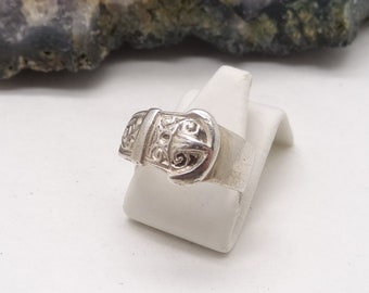 Vintage Silver Buckle Keeper Ring Size K US 5 1/8
