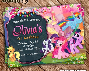 SALE 50% OFF My Little Pony Birthday Party Invitation - Unicorn - Rainbow - Colorful - Invitation for Girls - Cute Birthday Invitation