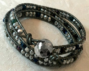 Silver Leather Chan Luu Wrap Bracelet Women's Leather Wrap Bracelet Chan Luu Style Bracelet for Teen Trendy Jewelry Trendy Bracelet BFF Gift