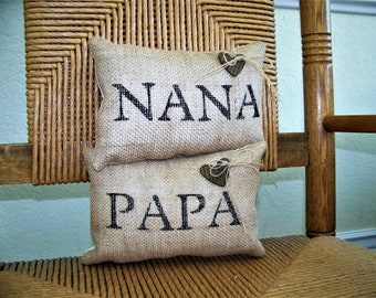 Nana Papa pillow burlap Grandparent gift Personalized name Mini stenciled pillow Mother's day gift FREE SHIPPING