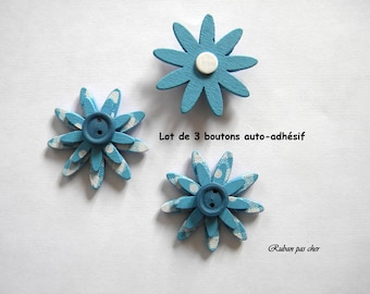 3 flowers / buttons for decoration - self adhesive - colors Blue - 4 cm (40 mm) in diameter