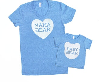 Mama Bear and Baby Bear Matching Set - Triblend Heather Blue with White Print