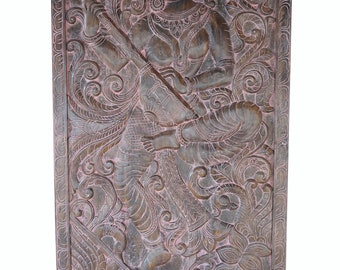 INDIAN Vintage Hand Carved Wall Sculpture Goddess Of Knowledge Artisan Handcrafted Wall Door Panel Home Decor