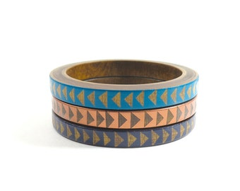 Banks Skinny Bangle Set/ Wood Bracelet Trio/ Stacking Bangles/ Painted Triangle Design/ xs-xl