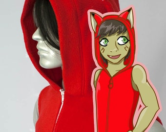 Red Fox Kitsune Hoodie, Costume, Cosplay, Adult Size, Hand-made