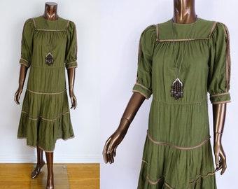 Vintage 70s ADINI India Cotton Dress / 1970s Tiered Khaki Green Dress / Ethnic Boho Dress - Sz Small