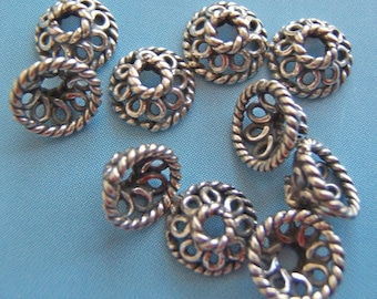 10 - Sterling Silver Bali Bead Caps
