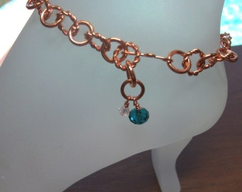 Copper Ankle Bracelet with Turquoise and Clear Swarovski Crystal Charms Adjustable up to 10 Inches With Your Choice of Clasp