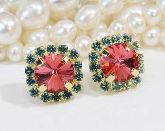 Coral Aqua Stud earrings Coral Peach Blue Post earrings Bridesmaids Earrings swarovski rhinestones Crystals Gold finish, Padparadscha, GE95