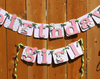 Pink Birthday Girl Party Banner