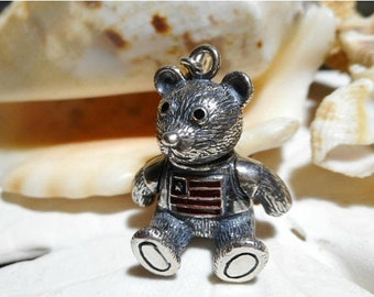 ON SALE Sterling Silver Teddy Bear Charm Movable Articulated 3D with Enamel Flag 8.14 grams