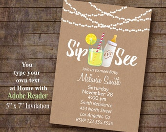 Sip & See Invitation, Printable invitation, Mason Jar and baby bottle, Instant Download Editable PDF File A947