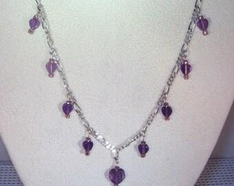 Gemstone Jewelry - Purple Fluorite Hearts Necklace