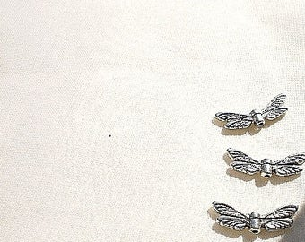 3 beads 20 x 7 silver wings