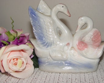 Vintage swans ceramic figurine,,Beautiful Pink and Blue swans,ceramic swans paired