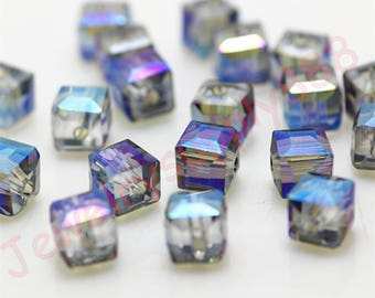 Clear Blue Color 40 Square Cube Crystal Beads,Loose Jewelry cube Beads ,Square crystal beads Size 2mm 3mm 4mm 6mm 8mm 50 Colors U Pick