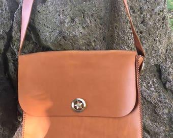 Women's genuine leather shoulder bag, hand made, hand sewen, crossbody bag
