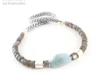 Aquard - All-day silver necklace with aquamarine and labradorite
