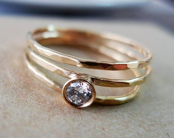Across The Universe. Asymmetrical Engagement Diamond Ring. Hammered 14K Gold And Conflict Free .12ct Diamond. Alternative Engagement Ring.