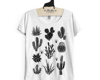 Large-  Tri-Blend Heather White Dolman Tee with Cactus Screen Print