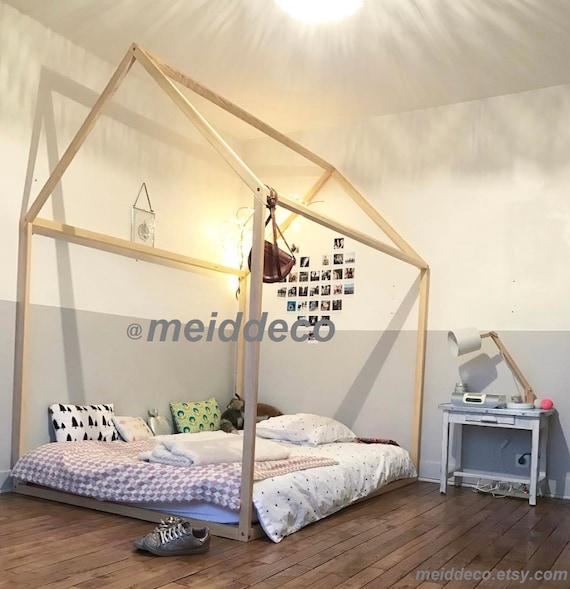 90 x 140 cm mit Lamellen Kinder Kinderzimmer Bett Holzhaus.