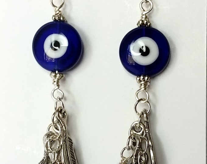 Protective Talisman Earrings - Blue Evil Eye Earrings with Long Silver Feather and Lapis Bead Tassels - Evil Eye Protection Tassel Earrings