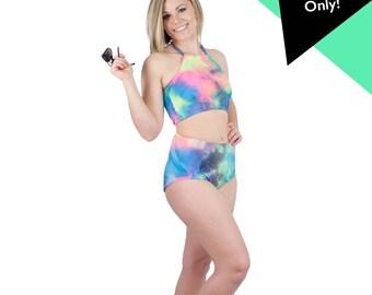 Tye Dye Swimsuit High Waist Bikini Bottoms Neon Bathing Suit Rainbow Pattern Festival Booty Shorts